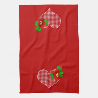 Retro Red Kitchen Gingham Hearts and Flowers Towels