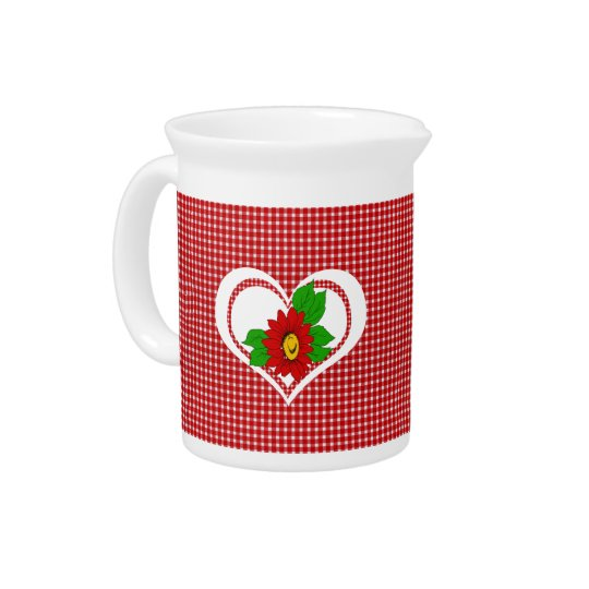 Retro Red Kitchen Gingham with Hearts and Flowers Drink Pitcher