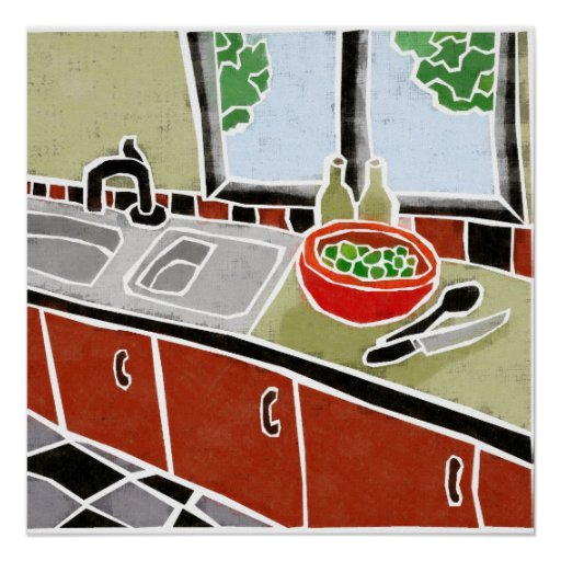 Retro Red Kitchen Poster