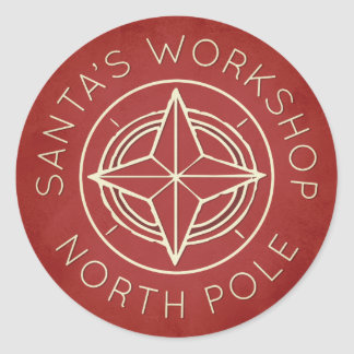 Retro red North Pole workshop Christmas sticker