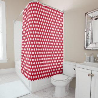 Retro Red Polka Dot Bathroom Shower Curtain