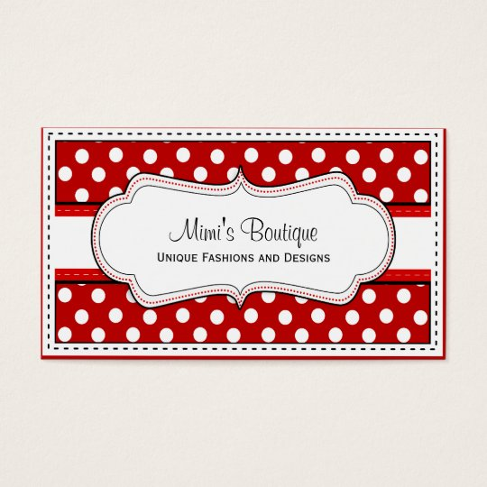 Retro Red polka dot business cards