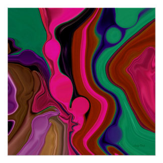 Retro Red Psychedelic Art Poster