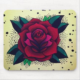 Retro Red Rose Mousepad