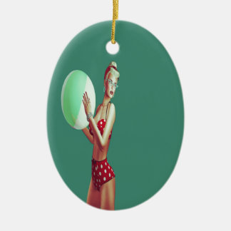 Retro Red spot beach babe Ceramic Oval Decoration