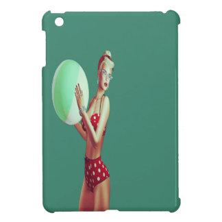 Retro Red spot beach babe Cover For The iPad Mini