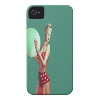 Retro Red spot beach babe iPhone 4 Case-Mate Case