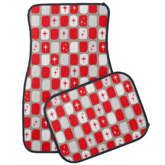 Retro Red Starbursts Car Mats