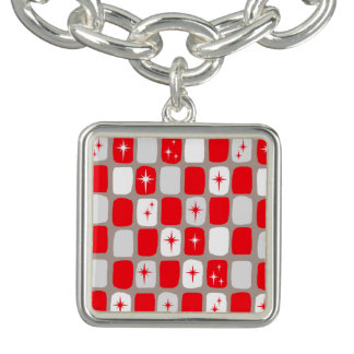 Retro Red Starbursts Charm Bracelet