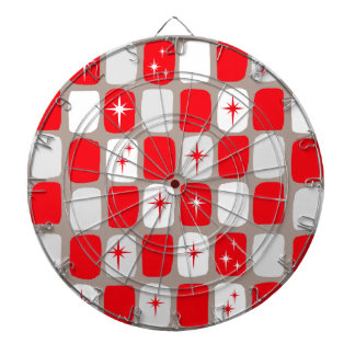 Retro Red Starbursts Dart Board