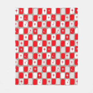 Retro Red Starbursts Fleece Blanket