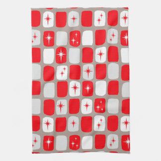 Retro Red Starbursts Kitchen Towel