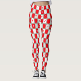 Retro Red Starbursts Leggings