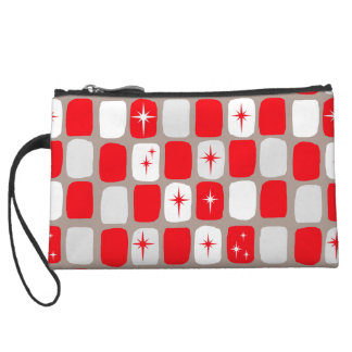 Retro Red Starbursts Mini Clutch