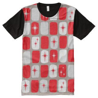 Retro Red Starbursts Panel T-Shirt