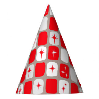 Retro Red Starbursts Party Hats