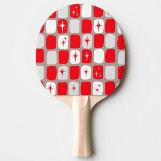 Retro Red Starbursts Ping Pong Paddle