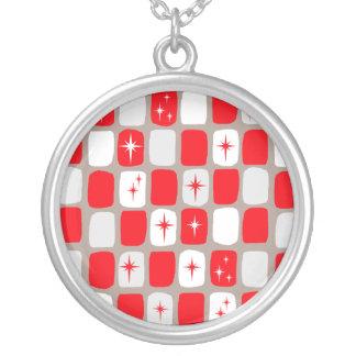 Retro Red Starbursts Round Necklace