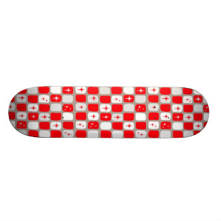 Retro Red Starbursts Skateboard