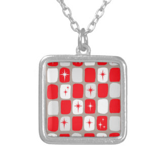 Retro Red Starbursts Square Necklace