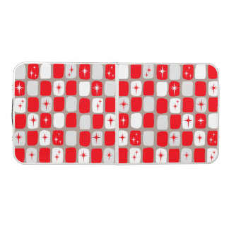 Retro Red Starbursts Tailgate Size Pong Table