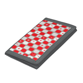 Retro Red Starbursts TriFold Nylon Wallet