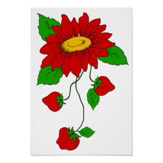 Retro Red Strawberries and Flower Poster