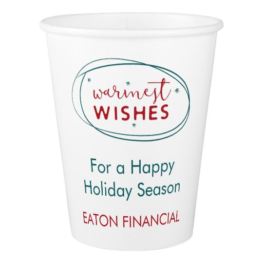 Retro Red Teal Warmest Wishes Script Name Paper Cup