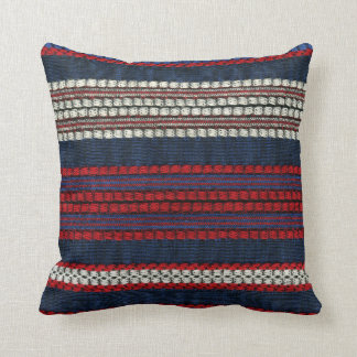 Retro Red White and Blue Hipster Fun Striped Throw Pillow