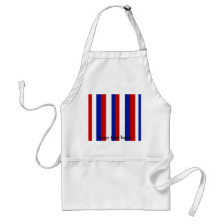 Retro red white and blue stripes adult apron