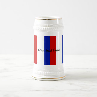 Retro red white and blue stripes beer steins