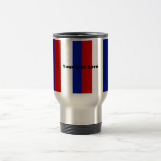 Retro red white and blue stripes stainless steel travel mug