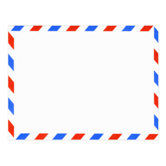 Retro Red White & Blue Old Fashioned Airmail Postcard