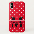 Retro Red White Polka Dots, Personalised iPhone X Case