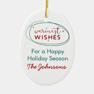 Retro Red White Teal Warmest Wishes Photo Name Christmas Ornament