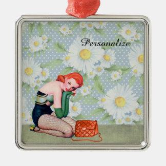 Retro Redhead Pin-up Girl Christmas Ornament
