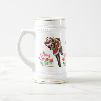 retro reindeer cute santa christmas tankard coffee mug