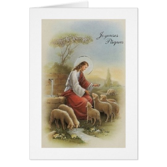 Retro Religious French Joyeuses Pâque Easter Card