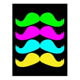 Retro RGB Fluo Moustaches Postcard