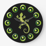 Retro Rings And Lime Green Lizards Cool Design Round Wallclocks