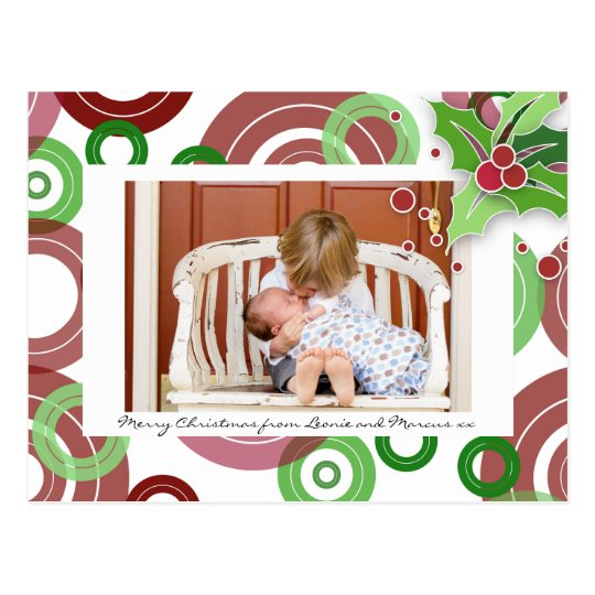 Retro Rings Christmas Photo Postcard