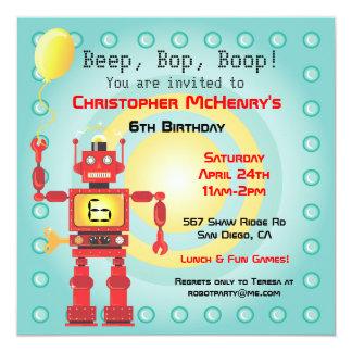 Retro Robot Birthday Party Invitations