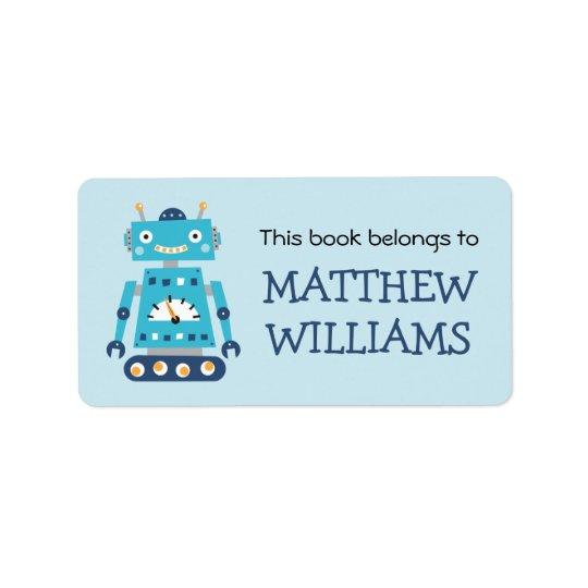 Retro robot bookplate book label
