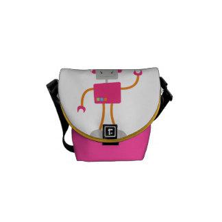 Retro Robot Girly Pink Messenger Bags