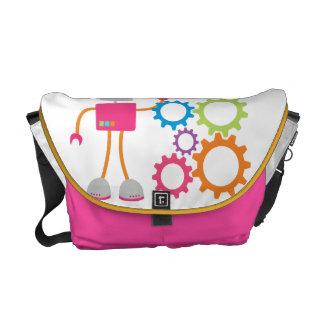 Retro Robot Girly Pink Messenger Bag