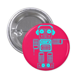 Retro Robot (Hot Pink) Flair Button