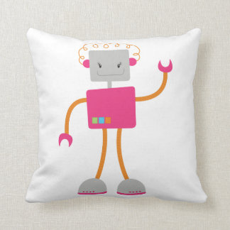 Retro Robot in Pink Cushion