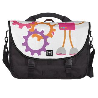 Retro Robot in Pink Laptop Messenger Bag