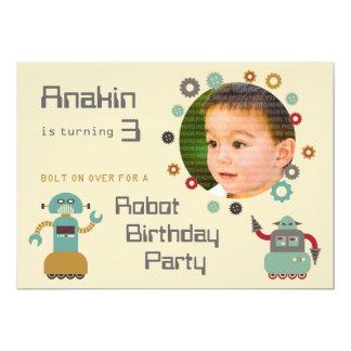 Retro Robot Party Birthday Photo Invitation
