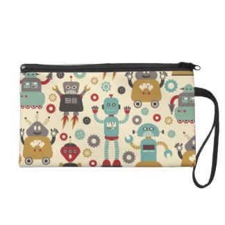 Retro Robots (Cream) Bagettes Bag Wristlet Purse